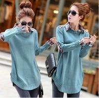 Hitz female Korean fake two-piece long section of large size loose sweater shirt collar sweater coat