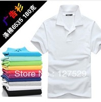 Male turn-down collar t-shirt solid color polo shirt male short-sleeve plus size available class service advertising shirt work