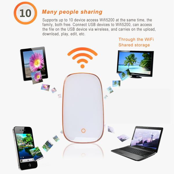 5200mah portable mini wireless travel wifi router 3g hotspot 150mbps