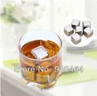 6pcs+clamp/set Stainless steel whisky wine rocks,whiskey beer ice stone, bar accessaries pyhsical cooling ice cube