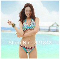 Free shipping New 2014 Sexy Women Bikini Swimwear Swimsuit Beachwear With Inside Pads Indian Flower Blue Color S M L
