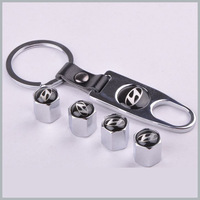 1 set x Silver New Style Chrome Metal Car Tire Wheel Rims Stem Valve CAPS with KeyChain Key Chain For Hyundai HY 1 set = 4pcs