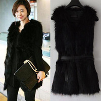 2014 Winter Fashion Waistcoat for Women Faux Fake Fur Sleeveless Vest Coat With V-Collar Long Waistcoat Jacket Outwear nz150