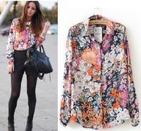 Women blouse Floral Print blusas femininas 2014 flower desigual roupas femininas red chiffon shirt free shipping