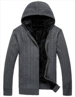 2013 Winter Men's Cotton Sweater Outwears Hooded Plus Size Thickening Cardigan QP-246