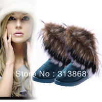 2013 Autumn Winter Warm high long snow boots artificial fox rabbit fur leather tassel women's shoes free shipping L035568