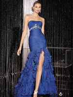 Gorgeous Strapless Royal Blue Organza high-slit Floor Length Evening Dresses,Free Delivery Fashion Ruffled Dress with crystals