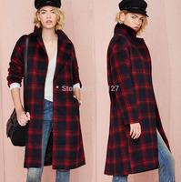 FREE SHIPPING new 2014 autumn winter Plus Size simple fashion Red Plaid  hem split ends double pockets women wool coat XS-XXL