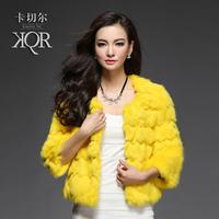 2014 new winter women fur coat rabbit fur coat fur women's short design Y2P3