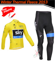 Free Shipping! 2013 SKY #031 Thermal Fleece Cycling Jersey Long Sleeve and Cycling (bib) Pants GTZ060