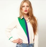 2013 new autumn-summer women's patchwork Long Sleeve chiffon slim Blouses & Shirts slim  S M Lplus size free shipping