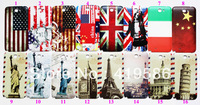UK US Brazil Eiffel Leaning Tower Big Ben Statue of Liberty Plastic Housing Battery Door Replacement Case For Galaxy Note2 N7100