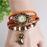 7 Colors Available 2013 Hot fashion Genuine Cow Leather Strap Vintage Watch Bracelet Watch for Women Girls Free shipping WTH32