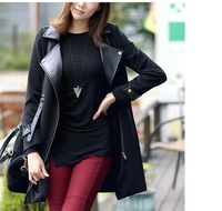 2013 new autumn and winter women Korean of the long section of the Lady stitching leather jacket pu leather ladies clothing