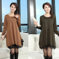 2013 Autumn Maternity Clothing Plus Size Loose Long Design Lace Sweater Female Sweater Dress