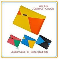 Fashion Brand Leather Sleeve Case For Retina ipad mini / ipad mini, Folding Foilo Protecter Cover, Contrast Colors, Free Ship