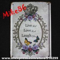 [ Mike86 ] LIVE WELL LOVE MUCE LAGUH OPEN  Poem Tin Sign Vintage Wall Art decor Bar Retro Metal Painting K-117 Mix Item 15*21 CM