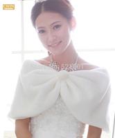 new 2014 wedding jacket Bride cape winter bride red beige pearl ball thermal fur shawl bolero women wedding coat ivory color