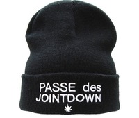 free shipping Fashion Hiphop PASSE DES JOINTDOWN Beanie in Black Obey snapbacks Dope caps Wasted Youth Homies beanie