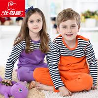 Brand 2013 Winter Children Thermal plus Velvet thickening Clothing sets boys girls stripe Thermal pajamas child underwear set