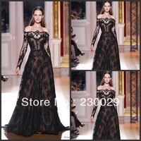 2013 Free Shipping A-line New Style Tulle over Satin Black Appliqued Long Sleeves Formal Evening Long Dresses For Women BR02