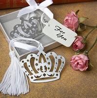 30PCS/LOT Crown bookmark in elegant white box wedding favor baby shower gifts