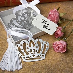 30PCS/LOT Crown bookmark in elegant white box wedding favor baby shower gifts(China (Mainland))