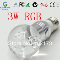 AC85-265V E27 RGB LED Lamp  Crystal LED Bulb  led Bulb Lamp with Remote Control multiple colour led light free shipping