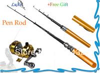 Mini Portable Pocket Pen Shape Aluminum Alloy Fishing Rod Pole Reel Combo Ice Fishing Rod Set+Gift+Accessories+FreeShipping