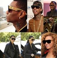 Free shipping Kim kardashian Beyonce Celebrities Style Gold Chain Sunglasses Men/ Women
