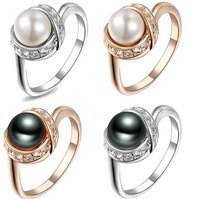 Real Italina Rigant Genuine Austria Crystal 18K gold Plated Pearl Rings for Women Enviromental Anti Allergies  New Sale