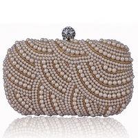 Evening Clutch Hard Case Handbag Pearls Beading Colors Unique Pattern Design Accessory Nude Cream Silver Metal Small - VC Mart