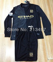 ManCity jersey set 13 14 sportswear men football & soccer suits long sleeve uniforms home/away shirt black/skype-blue S004