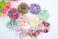 Hot sale good quality chiffon flowers for baby headbands leopard Flowers with pearl and Rhinestone Mini Flower wholesale 50PCS
