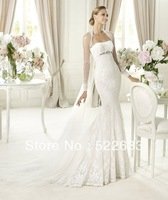 [High-Quality ]Free Shipping Mermaid Strapless Lace Luxury Wedding Dresses 2014 Plus Size#2854