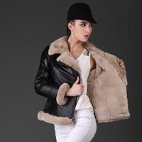 2014 Winter New Arrival Women's Natural Rex Rabbit Fur Collar Fur Lining Genuine Sheepskin Leather Short Jacket  Slim Thick Warm