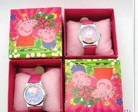 Factory price new arrival Free Shipping 2pcs/lot peppa pig Watch , Children Watch with box,birthday gift for children