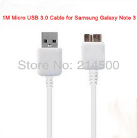 1m Micro B USB 3.0  Data Sync Charging Cable for Samsung Galaxy Note 3 S5 i9600 N900 N9000 N9006 N9002 N9008 White free shipping