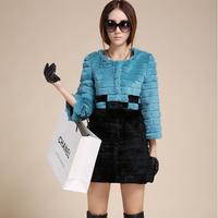 2014 new spring and winter women o-neck three quarter sleeve medium-long rex rabbit hair fur coat Y2P0