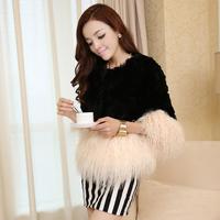 2014 new autumn and winter beach wool short design rex rabbit hair fur coat o-neck Y2P4