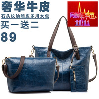 free shipping 3pieces a set new style fashionable cow leather handbags Picture tide leather bag fashion shoulder bag 3pcs/set