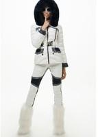Hot!!Winter Europe New Fashion Women Blue White Patchwork Slim Light White Duck Down Pants Skinny Warm Pants F15161