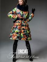 2014 Hot!! Europe Fashion Brand Women's Colorful Sunflower Printed Down Coats Female Luxury Fox Fur Coat Dress Parkas  F15162