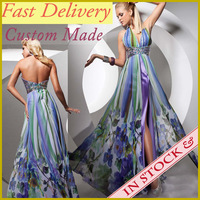 2014 Real Sample Vestidos Summer Sexy Halter Colorful Long Evening Cocktail Party Dresses Printed Backless Chiffon WC107