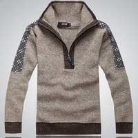 Free Shipping 2013 male sweater stand collar outerwear faux two piece men's sweater men's clothing sweater half zipper