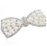 free shipping new fashion 2014 pearl top clip bowknot hairpin  crystal tire wholesale and retail