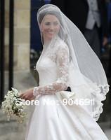 Fingertip Cut Bridal Wedding Veils 2 T Mesh Tull 1.5 X 1.5 Meters Lace Edge Wedding Veil Bridal Veils Mantilla + Blusher V1310