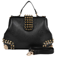 fashion vintage rivet patchwork Metal hasp women leather handbags cross body bag carteras high quality ss061