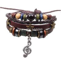 music note precious stone beads charm leather rope women wrap bracelet