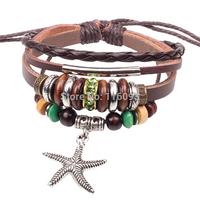 starfish charm precious stone beads leather wrap